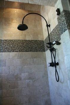 bathroom tile floor with border Bath Tiles, Bathroom Floor Tiles, Tile Floor, Tile Bathrooms, Bathroom Designs, Bathroom Plans, Bathroom Ideas, Travertine Floors, Tub Surround