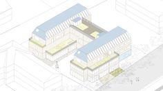 axonometría conjunto de viviendas en Prien
