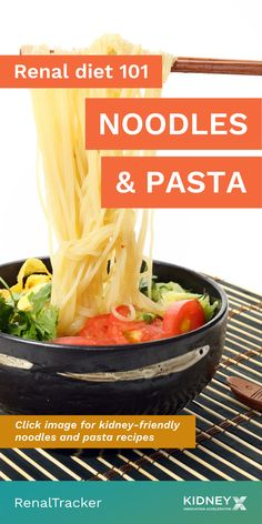 Depending on your recipe, noodles and pasta can fit in your renal diet. Click the image to learn how to make kidney-friendly noodles and pasta. Healthy Kidney Diet, Healthy Kidneys, Kidney Health, Pasta Recipes, Diet Recipes, Renal Diet, Food Swap, Foods To Eat, Noodles
