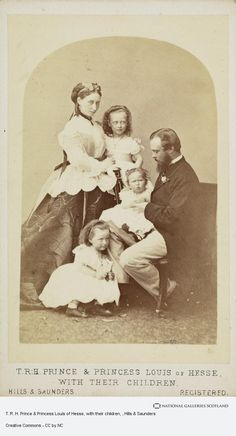 Princess Alice, with her husband Prince Louis of Hesse (later Grand Duke of Hesse) with three of their children, Princess Victoria, Princess Elizabeth, and Princess Irene of Hesse circa late Princess Louise, Princess Alice, Princess Elizabeth, Royal Princess, Prince And Princess, Victoria's Children, 3 Kids, Queen Victoria Family, Princess Victoria