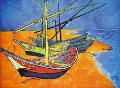 Vincent Van Goth : Bateaux de pêche sur la plage (1888), aquarelle, 40,4 cm x 55,5 cm musée de l'Ermitage  http://fr.wikipedia.org/wiki/Bateaux_de_pêche_sur_la_plage