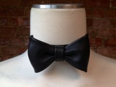 Formal Leather Bow Tie by rand leather on Etsy #leather #bowtie #black #custom #handmade