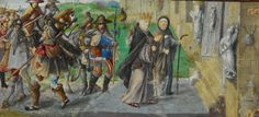 Rainha Santa Isabel em peregrinação a Santiago de Compostela. Data entre 1530 e 1534 Origem Image taken from The Portuguese Genealogy / Genealogia dos Reis de Portugal.