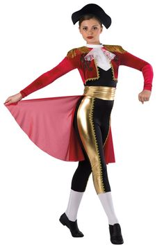 Style# 17462 EL MATADOR  Black spandex and red velvet capri unitard with white spandex insert and collar, black spandex epaulets and gold metallic spandex inserts. Separate matching cummerbund with attached red crepe back skirt. Fringe, gold braid, lace and applique trim. Headpiece and socks included. SC-XXLA
