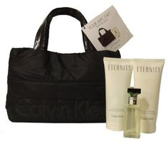 Calvin Klein Eternity 4 Piece Set Includes Cosmetic Tote Bag by Calvin Klein. $29.99. for a fresh cool scent womanly feeling. Eternity by Calvin Klein Perfume Set. Save 40% Off!
