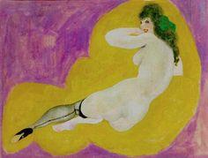 Alfons Walde - Lachender Akt mit grüner Masche auf gelbem Tuch