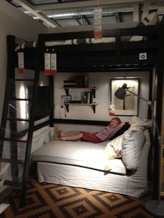 Bedroom Ideas. Gorgeous Ikea Loft Bed Design Ideas For Teenager Room: Black Ikea Loft Bed With Sofa Sleeper Using White Fabric Cover Also Brown Bedroom Area Rug And Wall Mounted Bookshelf In Small Space