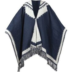 When the fire's dying and all your friends are headed off to bed but you're not ready to call it a night, wrap the Brixton Jakarta Poncho around your shoulders and throw another log on the fire. Crafted with a blue and white geometric pattern and finished with a tassel fringe, this blanket features a split front with loop-and-button closure for easy wear whether you're cuddled up in a cabin with your friends or headed out to explore the local art market.