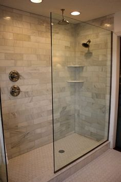 Walk-in shower, glass wall