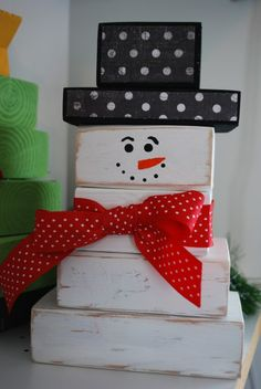 Snowman~ made out of 2 X 4 wood. Could use old wooden blocks of graduated sizes for a school craft. Snowman~ made out of 2 X 4 wood. Could use old wooden blocks of graduated sizes for a school craft. 2x4 Crafts, Wooden Crafts, Christmas Projects, Holiday Fun, Crafts To Make, Holiday Crafts, Christmas Holidays, Christmas Gifts, Christmas Decorations