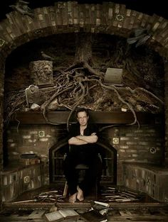 Clive Barker's fireplace - Looks like he lives in the Bishop house ;) great find by Kate Alexander over at ASTDG