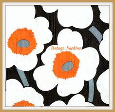 2 PAPER NAPKINS for DECOUPAGE - Marimekko Flowers White and Orange #338 by VintageNapkins on Etsy
