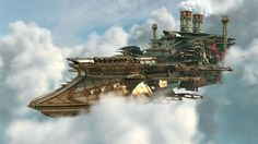 Awesome steampunk flying ship! Illustration by Jamis27,  http://jamis27.deviantart.com/art/steampunk-flying-aircraft-328830667