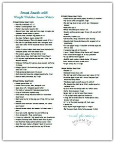 Smart Snacks with Weight Watcher Smart Points Printable
