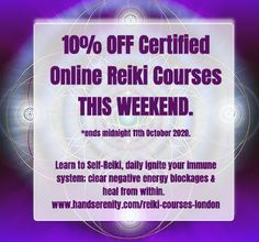 THIS WEEKEND *ends midnight 11th October 2020. Learn to Self-Reiki, daily ignite your immune system; clear negative energy blockages & heal from within www.handserenity.com/reiki-courses-london. Teaching available via SKYPE or In-Person too www.handserenity.com/courses #reikieverydamnday #reiki #reikihealing #reikimaster #reikilondon #reikihealing #energymedicine #distancehealing #distancereiki #energyiseverywhere #reikienergy #energyhealing #reikimaster #reikilove #spiritualhealer Spiritual Coach, Spiritual Healer, Reiki Courses, Animal Reiki, Reiki Energy, Creative Visualization, Greater London, Immune System, October