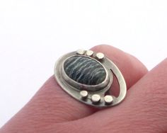 Sterling Silver and Seraphinite Ring with Decorative by ErinAustin