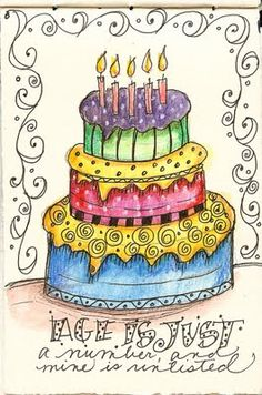 Art du Jour by Martha Lever: Journal cake---no calories!