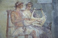 Fresco of a woman playing the lyre, AD 50-79, from Pompeii, British Museum