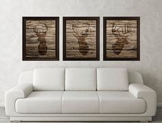 Antler, Stag, Deer Print Set of 3 (Wood Texture) - Minimalist Art -Rustic Poster Silhouette Art - Print - Wall Decor, Home Decor, Gifts (18)