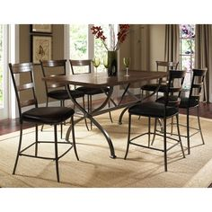 Hillsdale Furniture Cameron 5 Piece Counter Height Rectangle Wood Dining Set with Ladder Back Stools Counter Height Table Sets, Pub Table Sets, Counter Height Stools, Dining Room Sets, Dining Table In Kitchen, Dining Room Furniture, Dining Tables, Dining Chair, Pub Tables