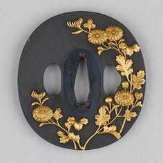 Shakudō tsuba with golden chrysanthemums. ca. 1615–1868 Japan.