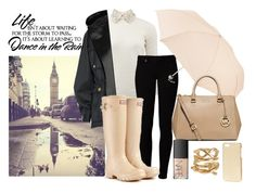 """12º"" by constanca-horan-clifford ❤ liked on Polyvore featuring Valentino, Balmain, Vero Moda, Hunter, MICHAEL Michael Kors, Spring Street, NARS Cosmetics, H&M, rainyday and rain"