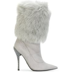 Baldinini faux fur trim boots ($1,082) ❤ liked on Polyvore featuring shoes, boots, grey, gray boots, leather shoes, grey boots, stiletto high heel boots and real leather boots