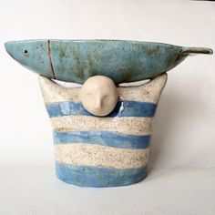 Купить Чаша Мечта рыбака. Керамика. - голубой, белый цвет, полоски, моряк, рыбак, рыбаку