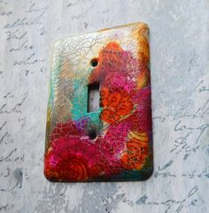Boho Meets Industrial switch plate cover mixed by TMBakerDesigns