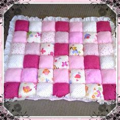 Bubble blanket puff blanket biscuit quilt pink and for Floor quilt for babies