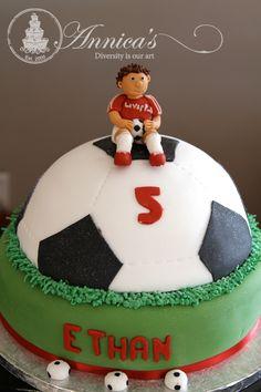 Soccer ball designer cake by Annica's