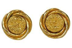 1970s Chanel Seal Logo Earrings