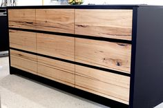 solid recycled timber kitchen drawers and doors in our South Melbourne project by Bombora Custom Furniture