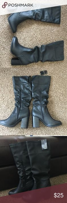 """NWT Attention Knee High Boots /Adler Style Size 6 Enjoy easy strides and confident steps with the distinguished look of the Adler fashion boot from Attention. Size 6. Subtle stitching accents the smooth texture of synthetic grain leather, bringing these knee-high boots a crisp, detailed edge. Convenient side zippers make dressing quick and easy. The 3"""" tall block heels bring a flattering look to your notched calves.  Side zip closure. Shaft height: 14 in. Shaft circumference: 14 in. 3 in…"""