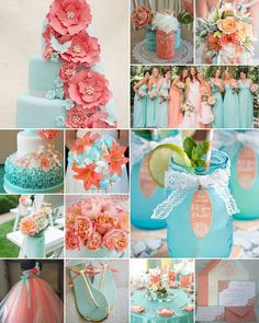 Aqua and Peach Wedding Colours is part of Peach wedding colors - Whether it's peach and aqua macaroons, ice cream cones, milkshakes or cupcakes, you can't go wrong Aqua Wedding Colors, Turquoise Coral Weddings, Coral Wedding Decorations, Spring Wedding Colors, Wedding Themes, Wedding Ideas For Spring, Teal Peach Wedding, Coral Aqua, Peach Color Schemes
