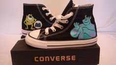 The Monster INC Hand Painted On Black Converse shoes by MYDIAMONTE, $79.00
