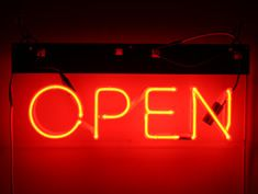 red neon open sign to hire