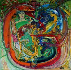 Artwork >> Jürgen Grafe >> IN PARADISE #artworks, #masterpiece, #oiloncanvas, #bright, #colorful, #paradise,