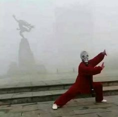 Smog couldn't stop Chinese Tai Chi master from his morning routine : funny