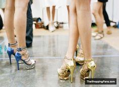 blue, gold high heels  The Shopping Fans