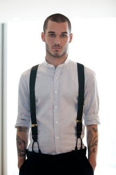 open collared shirt with rolled sleeves and black suspenders - Google Search