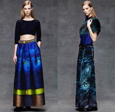 Alberta Ferretti 2014 Pre Fall Womens Lookbook Presentation - Pre Autumn Collection Looks - Denim Jeans Jacket Embroidery Emblem Wide Leg Pa...