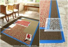 How to stencil an IKEA rug with an Ikat stencil . Great Chalk Paint DIY tutorial