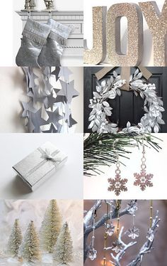 collection of glitter Christmas decorations Silver Christmas Decorations, Little Christmas Trees, Dyi Decorations, All Things Christmas, Christmas Holidays, Christmas Ornaments, Xmas, Happy Holidays, Christmas Crafts