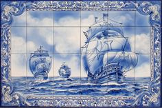 Tile Panel Car 443 , Find Complete Details about Tile Panel Car from Mosaics Supplier or Manufacturer-Azul e Vermelho, Unipessoal lda Tile Murals, Tile Art, Mosaic Art Projects, Tile Panels, Blue Pottery, Portuguese Tiles, Blue Tiles, China Painting, Ship Art