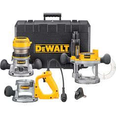 DEWALT HP Fixed Base Plunge Router Combo Kit provides power to rout smoothly through the toughest hardwoods. Includes motor pack and plunge base. Woodworking Tool Kit, Essential Woodworking Tools, Router Woodworking, Woodworking Classes, Woodworking Equipment, Woodworking Projects, Grizzly Woodworking, Unique Woodworking, Intarsia Woodworking