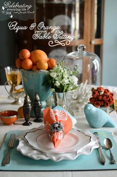 Aqua & Orange Tablescape, Aqua & Orange Place setting, Summer Table setting, Beach inspired place setting