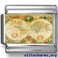 Antique Map of the World Photo Italian Charm Antique World Map, Vintage World Maps, World Map Mural, World Photo, Photo Charms, Italian Style, Designer Wallpaper, Wall Murals, Decorative Boxes