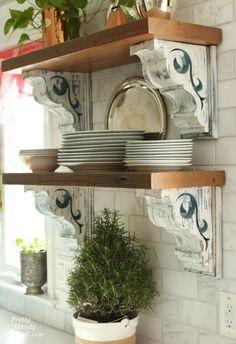 Rustic corbels dress up open shelves. Rustic corbels dress up open shelves. Küchen Design, House Design, Interior Design, Design Ideas, Kitchen Shelves, Kitchen Decor, Open Shelves, Rustic Kitchen, Bathroom Shelves