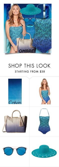 """""""Ombre' Swim"""" by jax522 ❤ liked on Polyvore featuring Calvin Klein, M&Co, Botkier, Oliver Peoples, San Diego Hat Co. and Alexis Bittar"""